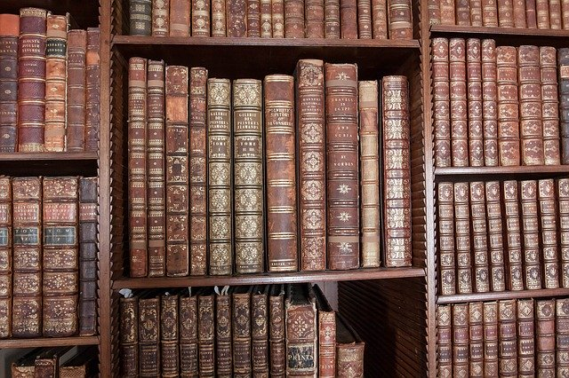 A book shelve with lots of ancien books