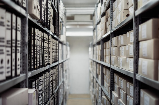 A basement archive room