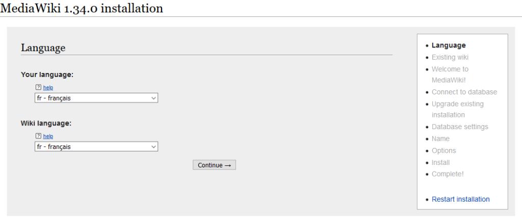 Configuration de MediaWiki : sélection de la langue.