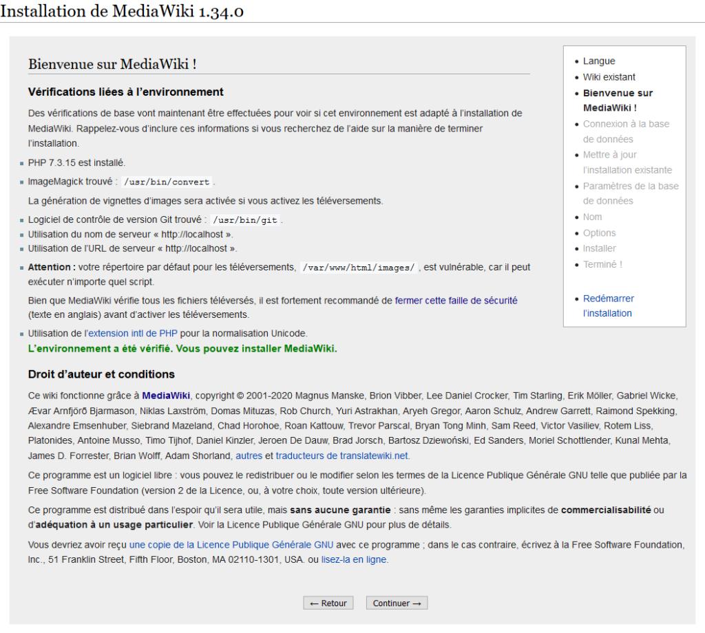 Paramétrage de MediaWiki : bienvenue.