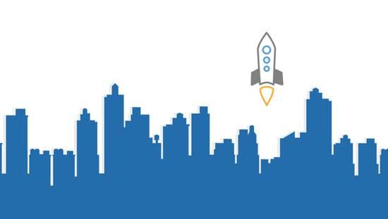 Dessin d'une fusée décollant parmis les immeubles d'une ville.
