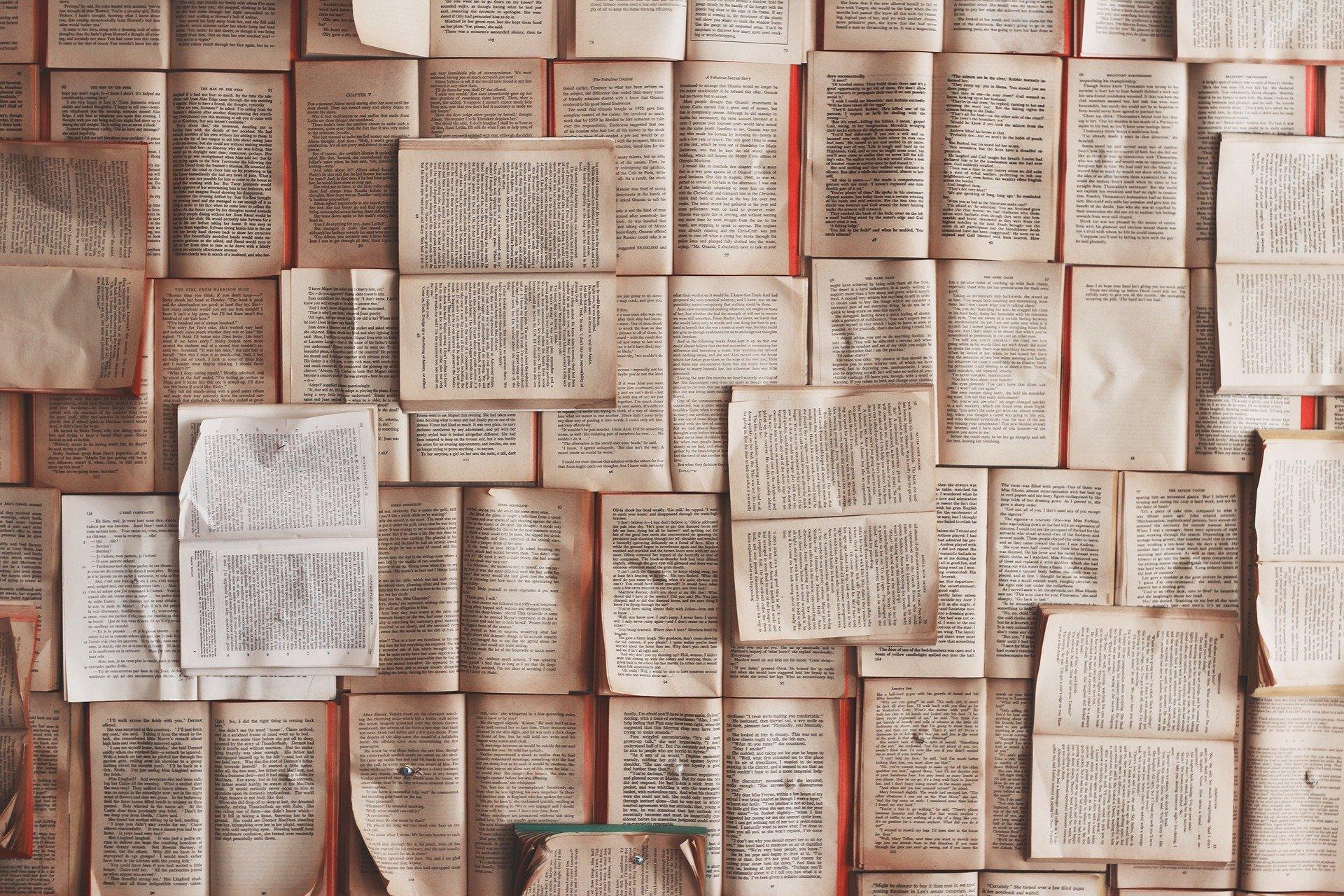Des livres ouverts posés les uns à côté des autres