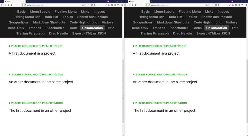 Capture d'écran de plusieurs éditeurs collaboratifs connectés au serveur local, utilisant les namespaces et les rooms.