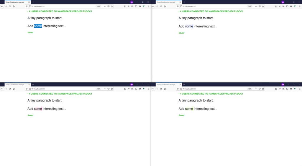 Screenshot tiptap collaborative example