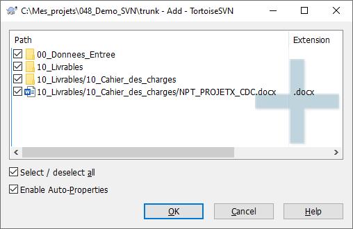 TortoiseSVN - Ajouter des fichiers 2/4