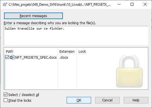 TortoiseSVN - Verrouiller un fichier 2/3